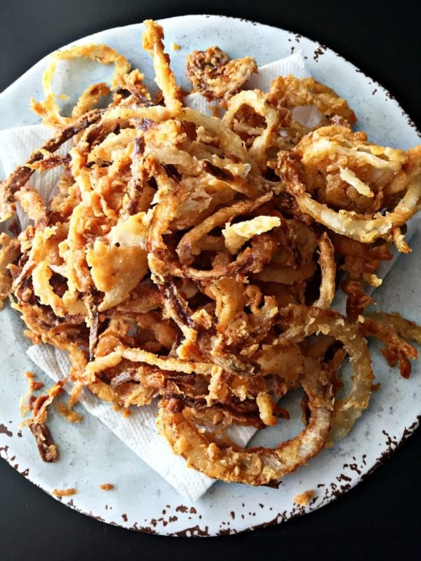 close up of onion strings