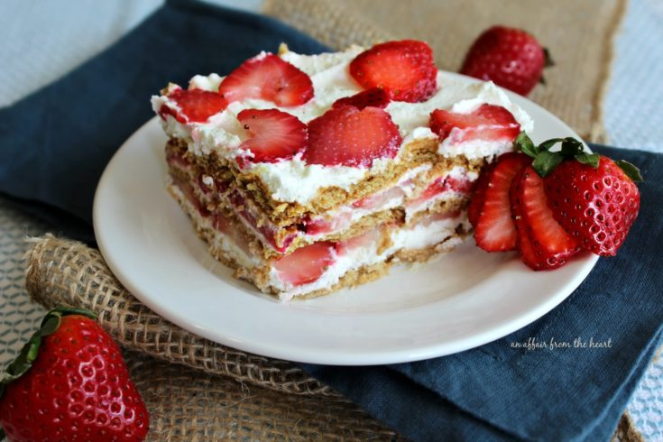 Piece of Old Fashioned Strawberry Icebox Cake on a white plate