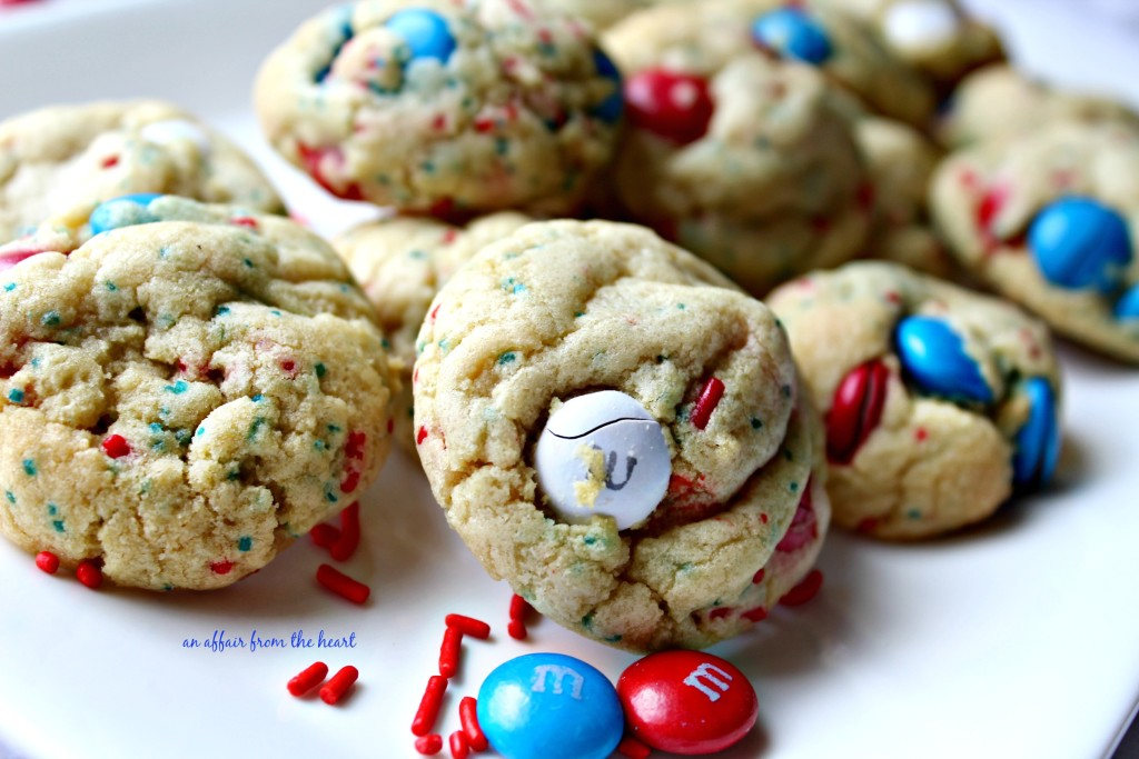 Patriotic M&M Pudding Cookies