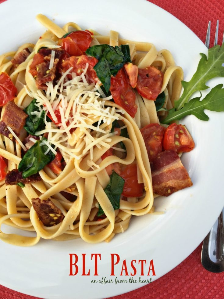 BLT Pasta in a white bowl