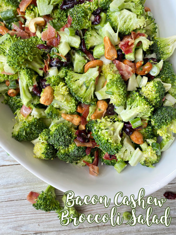Bowl filled with bacon cashew broccoli salad