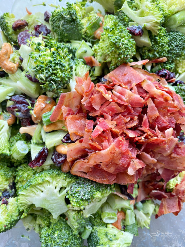 Top view of broccoli salad with bacon