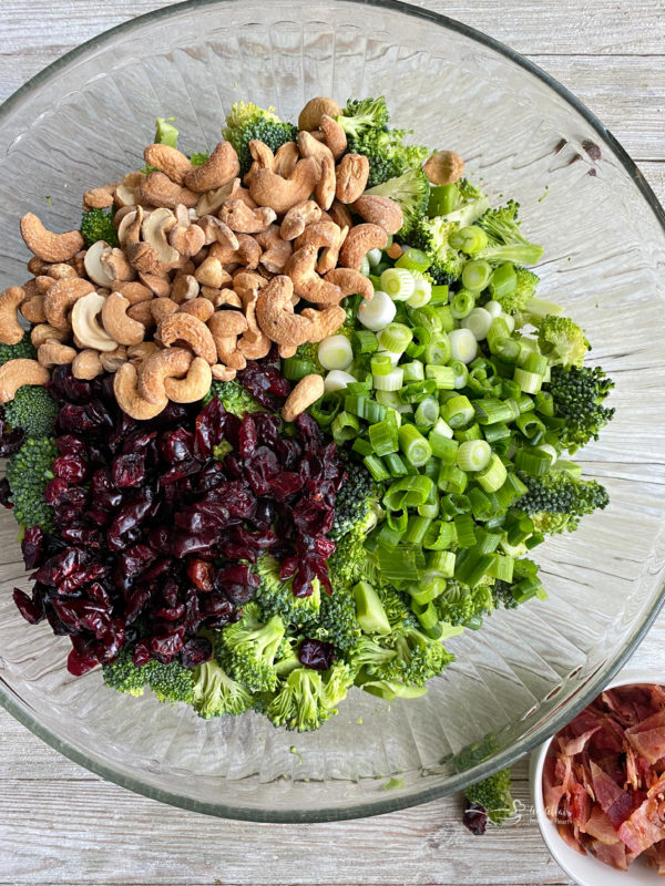 One bowl filled with cashews, onions, Craisins, broccoli