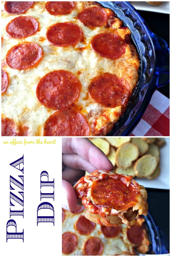 Pizza Dip An Affair from the Heart Warm cheesy pizza dip will have your guests coming back for just one more bite.! Easy to make and perfect for the pizza lovers out there!