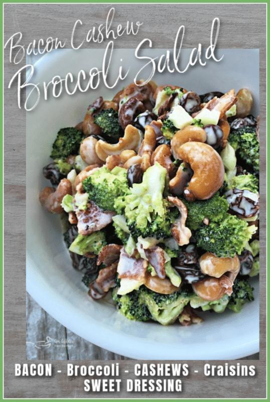 Graphic for bacon cashew broccoli salad