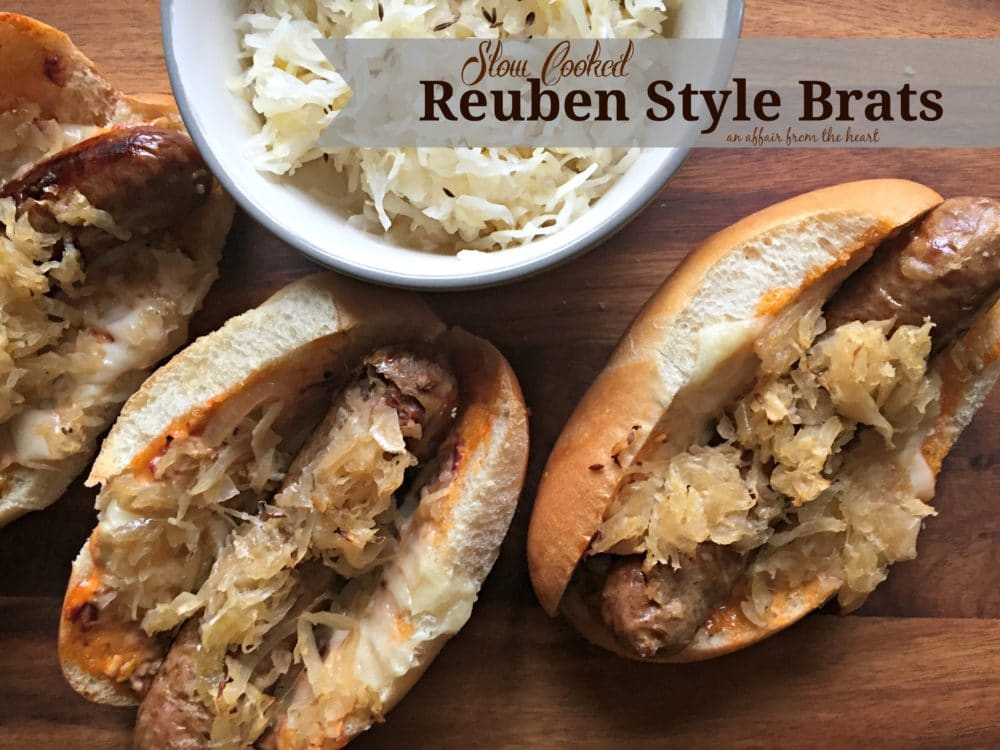 Slow Cooked Reuben Style Brats