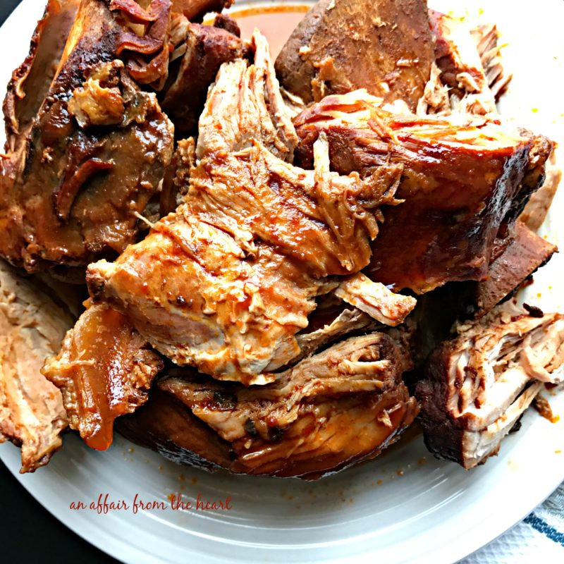 Remove the pork from the crock pot. Add some corn starch and water to ...