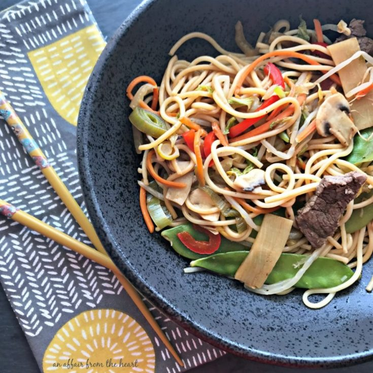 Overhead of Beef Lo mein in a bowl