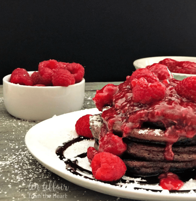 Chocolate Pancakes with Raspberry Sauce