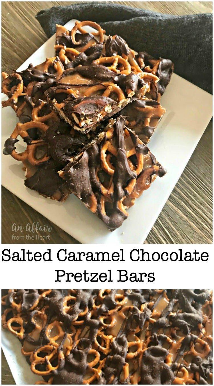 Salted Caramel Chocolate Pretzel Bars -- An Affair from the Heart