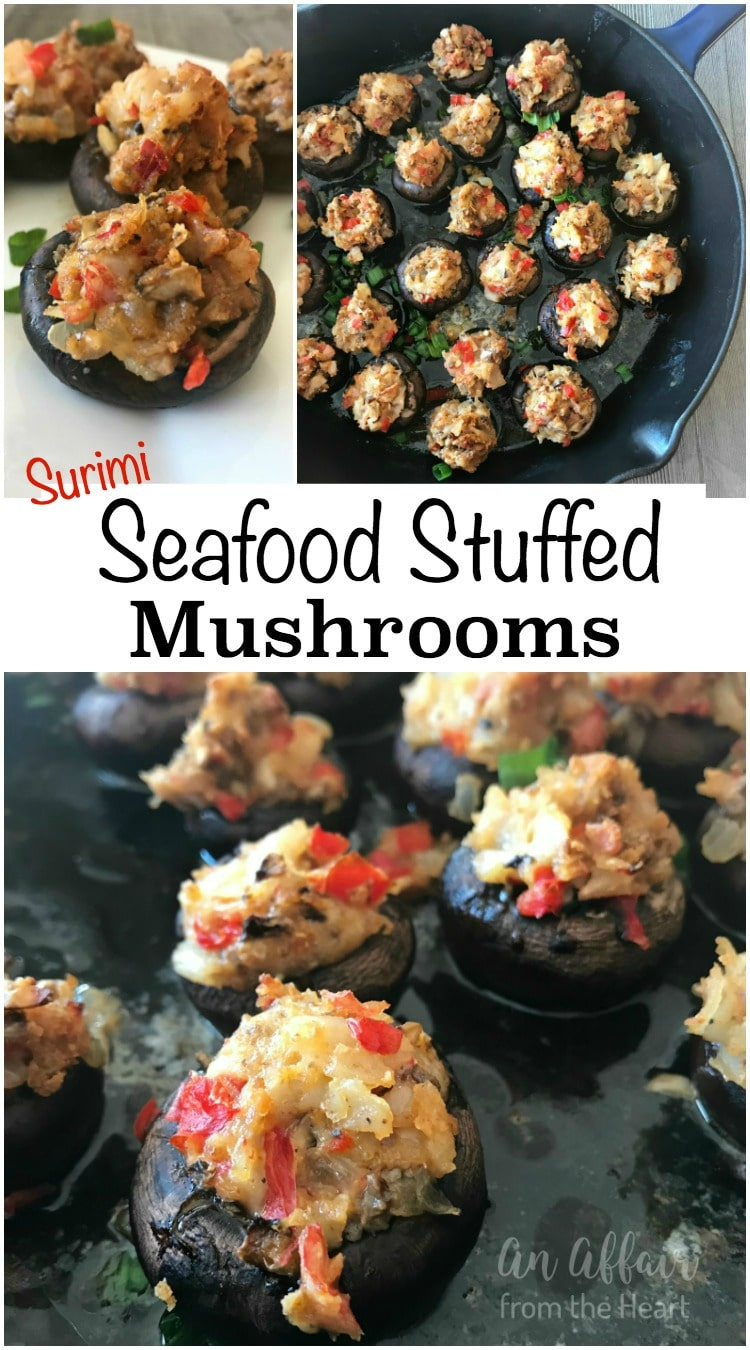 Surimi Seafood Stuffed Mushrooms - An Affair from the Heart
