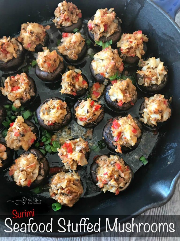 Surimi Seafood Stuffed Mushrooms