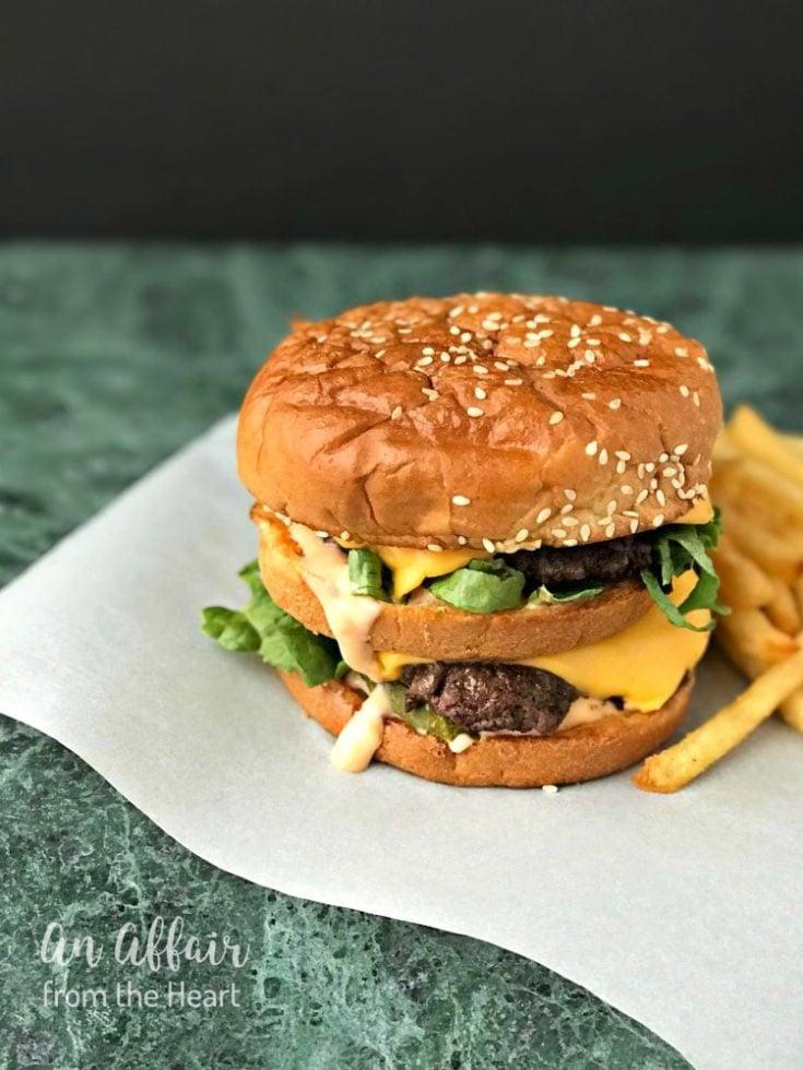 Side view of Copy Cat McDonald's Big Mac