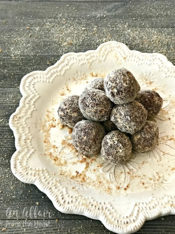 Mocha Rum Balls on a white serving tray