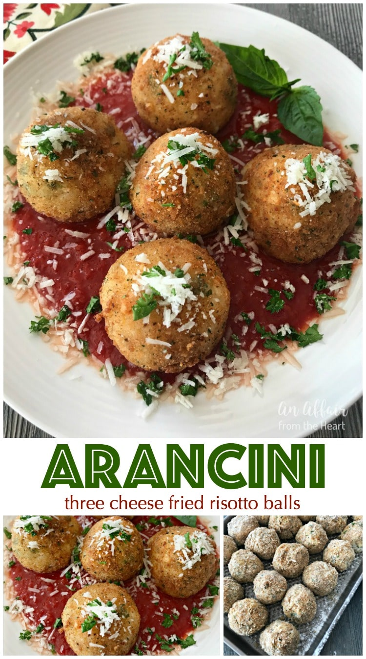 Arancini - Three Cheese Fried Risotto Balls | An Affair from the Heart