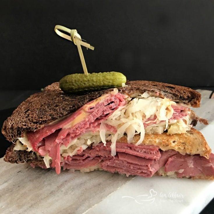 Reuben Sandwich close up on a counter