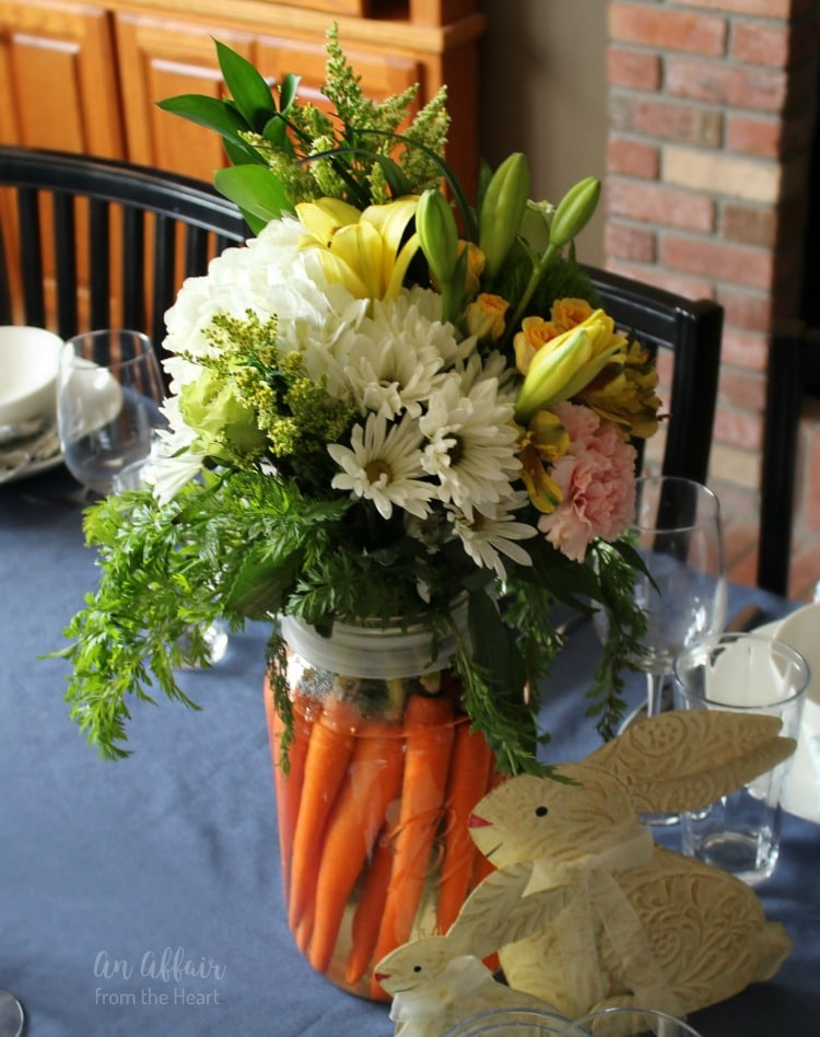 Easter Centerpiece made with real carrots