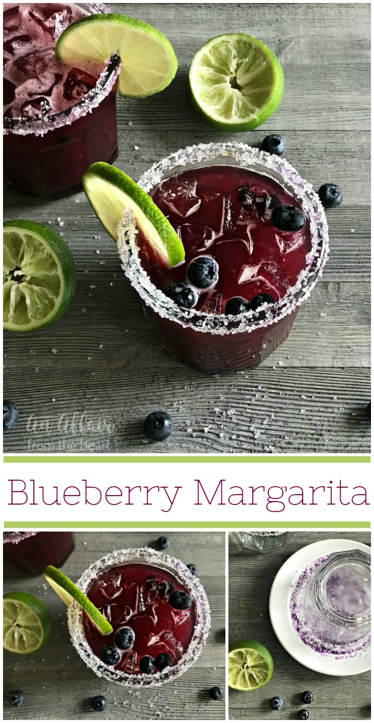 Blueberry Margarita - An Affair from the Heart -- Pureed fresh or frozen blueberries, lime simple syrup and your favorite tequila and you are on your way to a pitcher of seriously delicious sipping!
