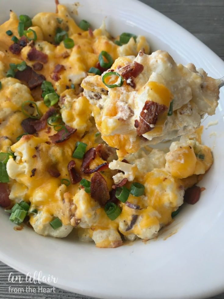 Loaded Cauliflower Casserole - An Affair from the Heart - Loaded baked potato meets cauliflower - baked in this super easy, extra delicious casserole!