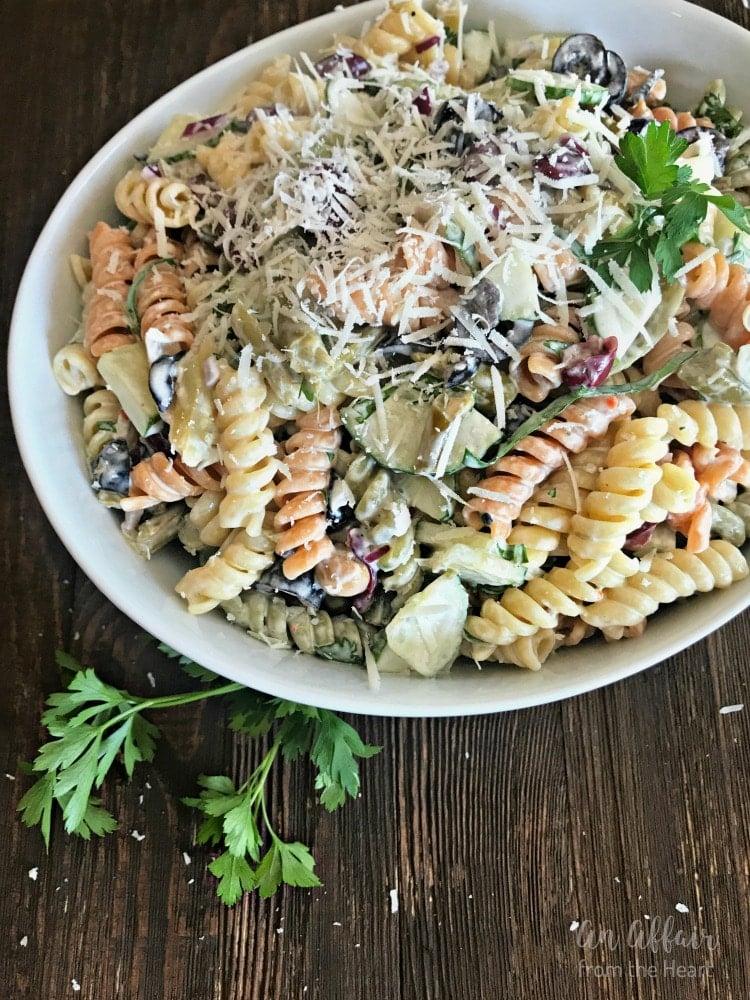Creamy Italian Four Bean Pasta Salad - An Affair from the Heart