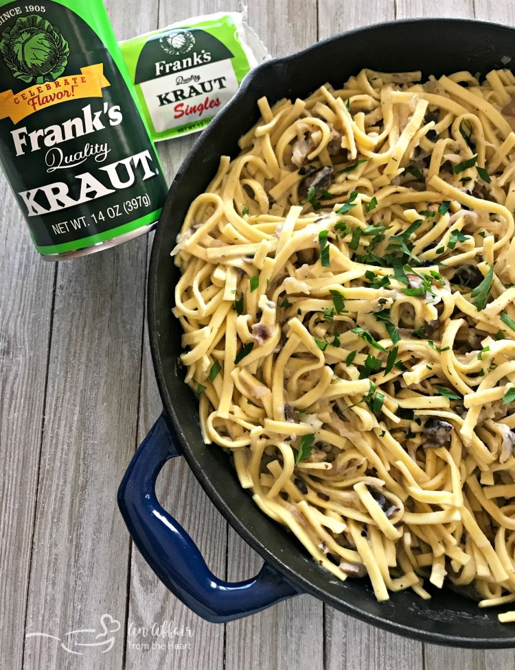 Creamy Kraut & Mushroom Noodles - An Affair from the Heart