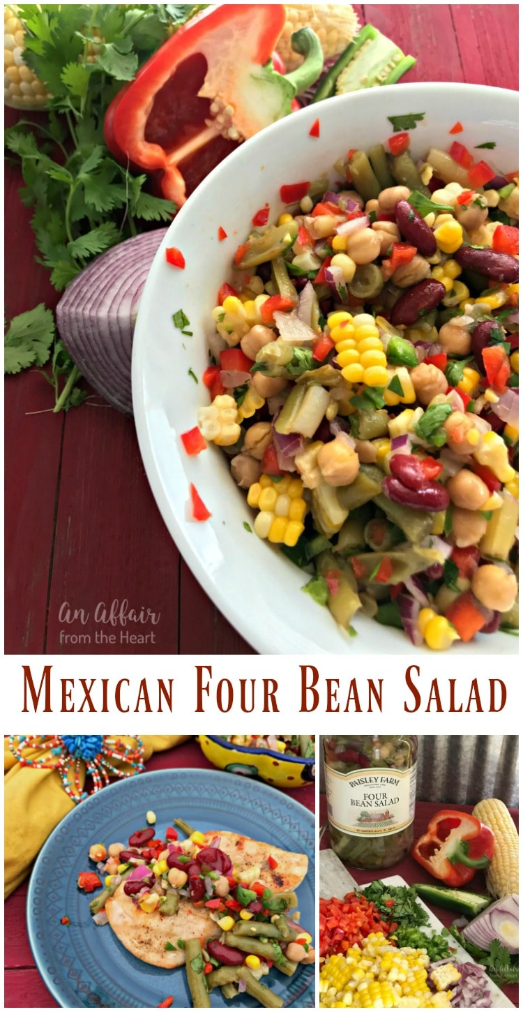 Mexican Four Bean Salad - An Affair from the Heart - A few simple fresh add ins to Paisley Farm Four Bean Salad and you have this delicious Mexican bean salad.