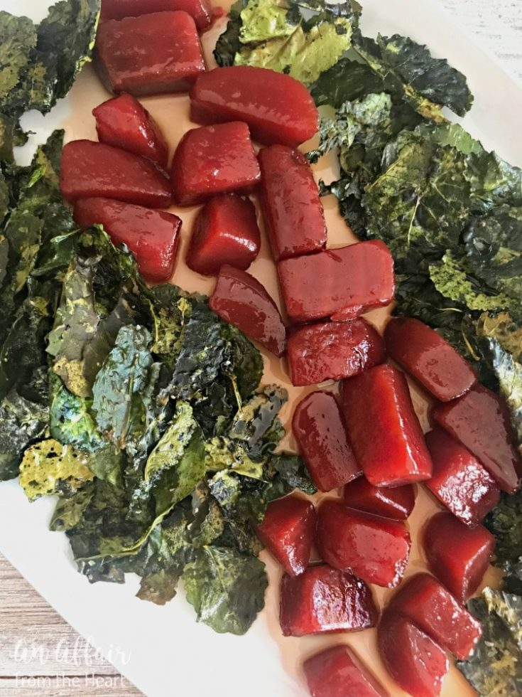 Honey Bourbon Glazed Beets with Crispy Kale