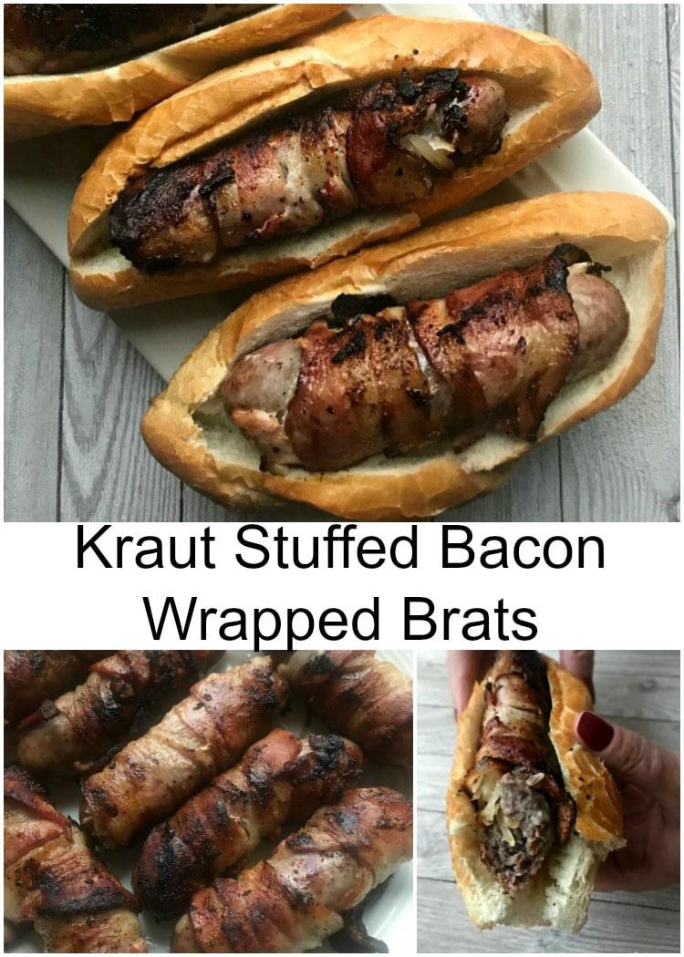 Kraut Stuffed Bacon Wrapped Brats - Frank's Kraut