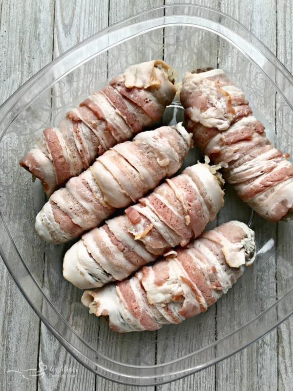 Kraut Stuffed Bacon Wrapped Brats for tailgate