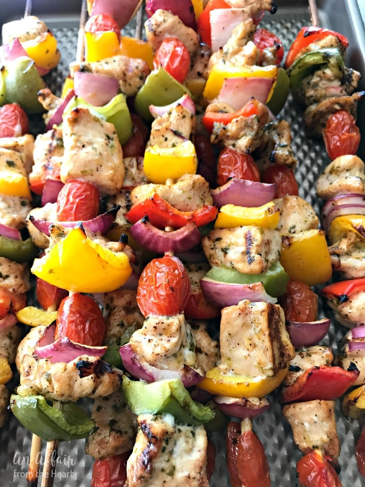 Chicken Fajita Kabobs hot off the grill