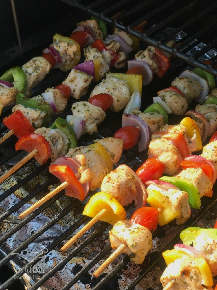 Chicken Fajita Kabobs on the grill
