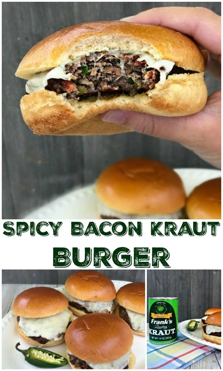Spicy Bacon Kraut Burger --Lean ground beef, bacon, jalapeño, and mozzarella cheese. Think Jalapeño Popper meats Kraut Burger! YUM!