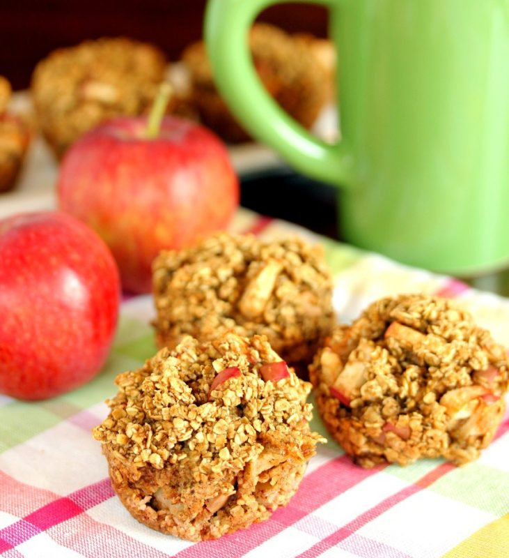 BAKED APPLE CINNAMON OATMEAL MUFFINS
