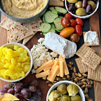 Mediterranean Inspired Cheeseboard with Cauliflower Hummus