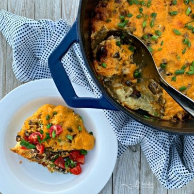 Dutch Oven Brunch Bake  {Sausage Egg Casserole}