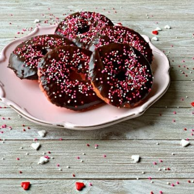 Baked Chocolate Covered Strawberry Donuts