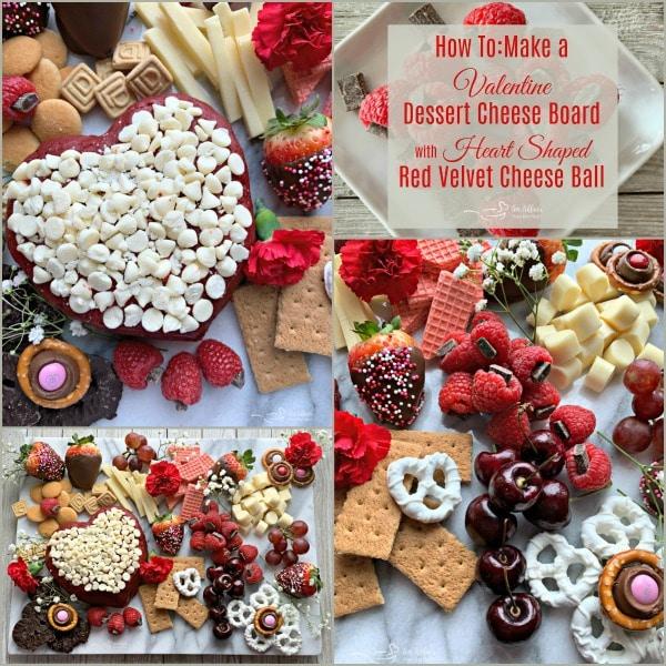 Valentine Dessert Cheeseboard with Red Velvet cheeseball