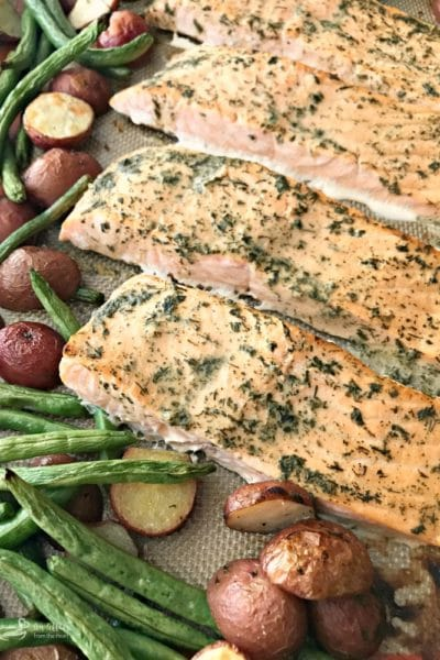Roasted Salmon Sheet Pan Meal with Potatoes & Green Beans