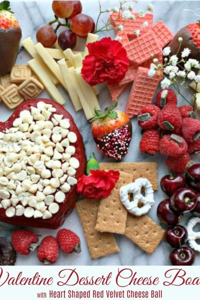 Valentine Dessert Cheese Board with Red Velvet Heart Shaped Cheese Ball