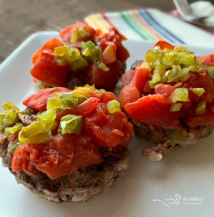 close up Stuffed Pepper Meatloaf Minis on a white plate