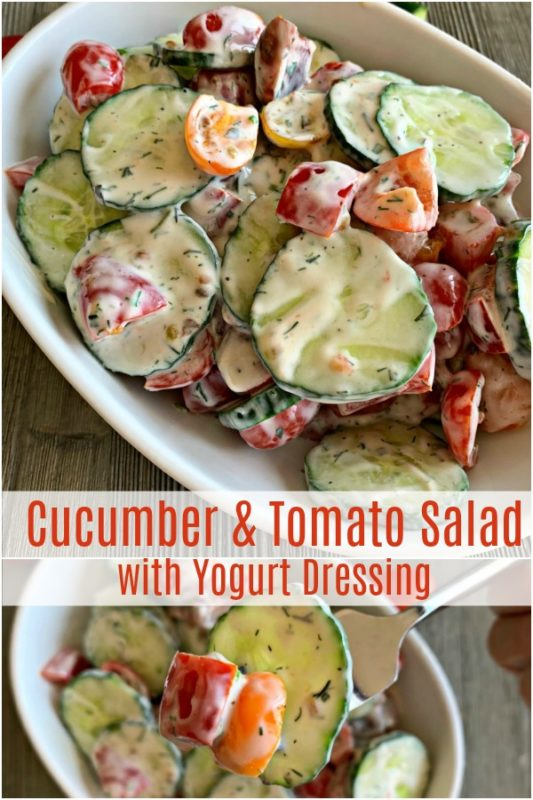 Cucumber & Tomato Salad with Yogurt Dressing = An Affair from the Heart