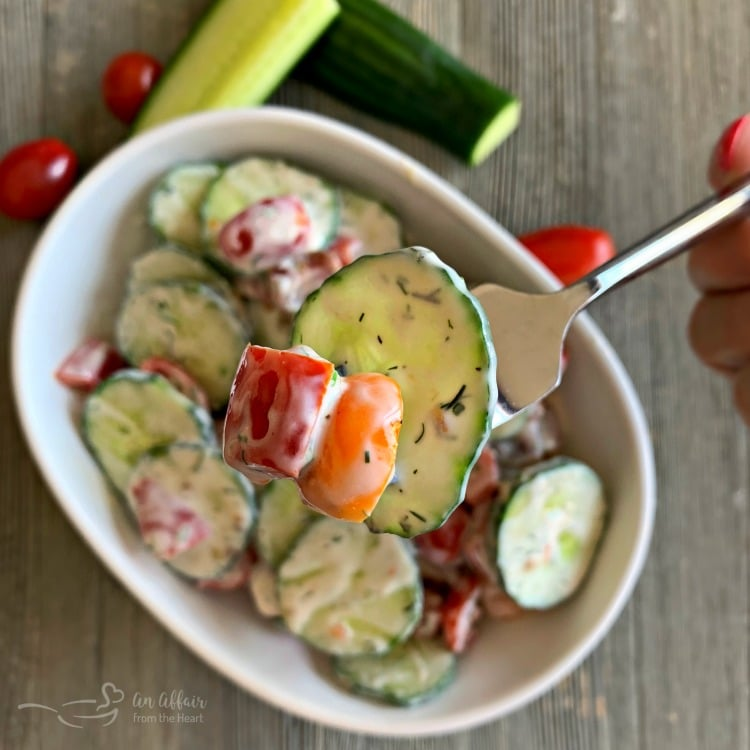 Cucumber & Tomato Salad with Yogurt Dressing