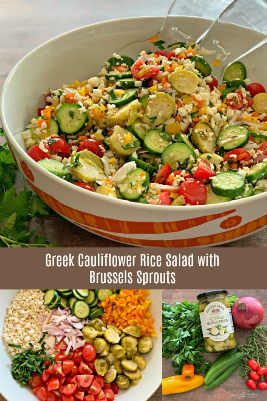 Greek Cauliflower Rice Salad with Brussels Sprouts