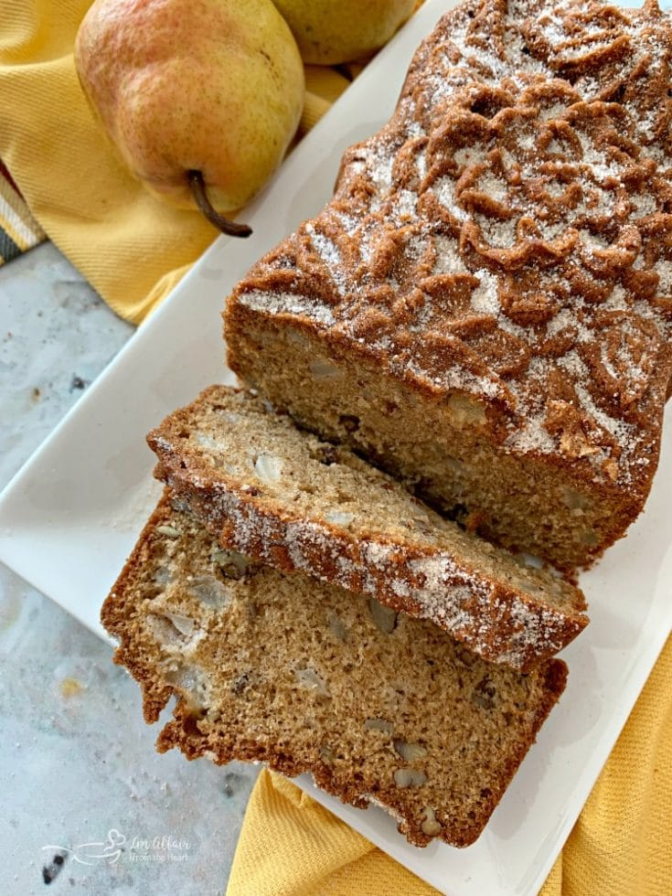 Pear Bread overhead on a white serving plate