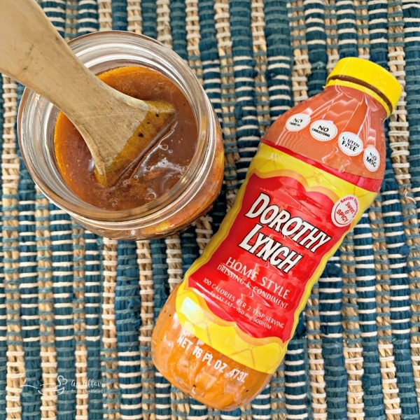 Dorothy Lynch BBQ sauce and bottle of dressing