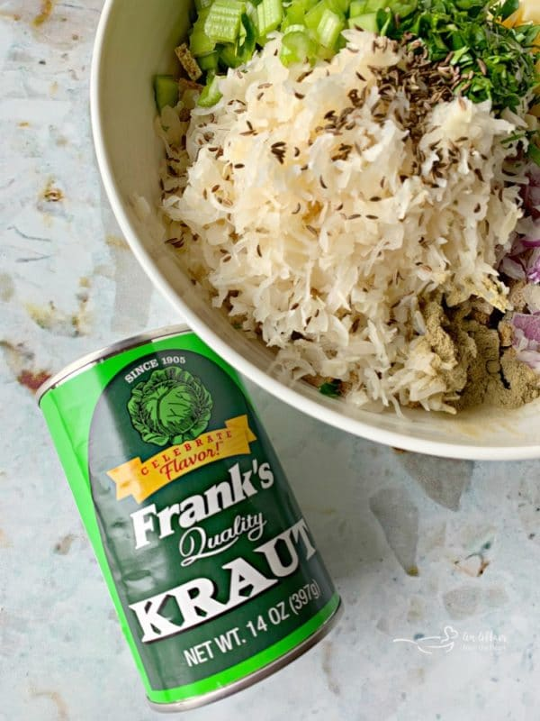 sauerkraut stuffing prep with can of Frank's KRaut