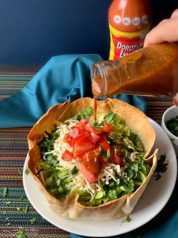 Dorothy's Taco Salads with Dorothy Lynch Taco Sauce
