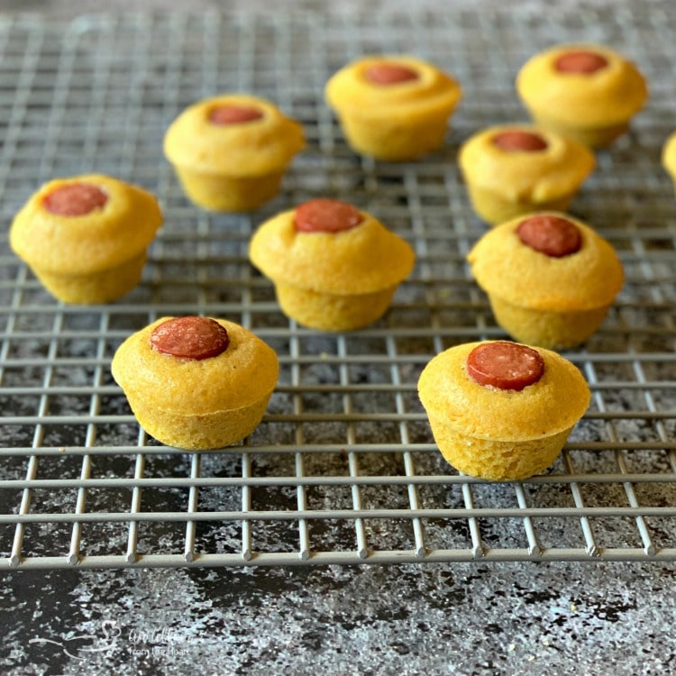 Corn Dog Mini Muffins on cooling rack