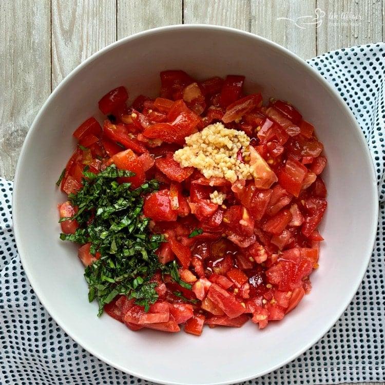 Tomato Bruschetta prep