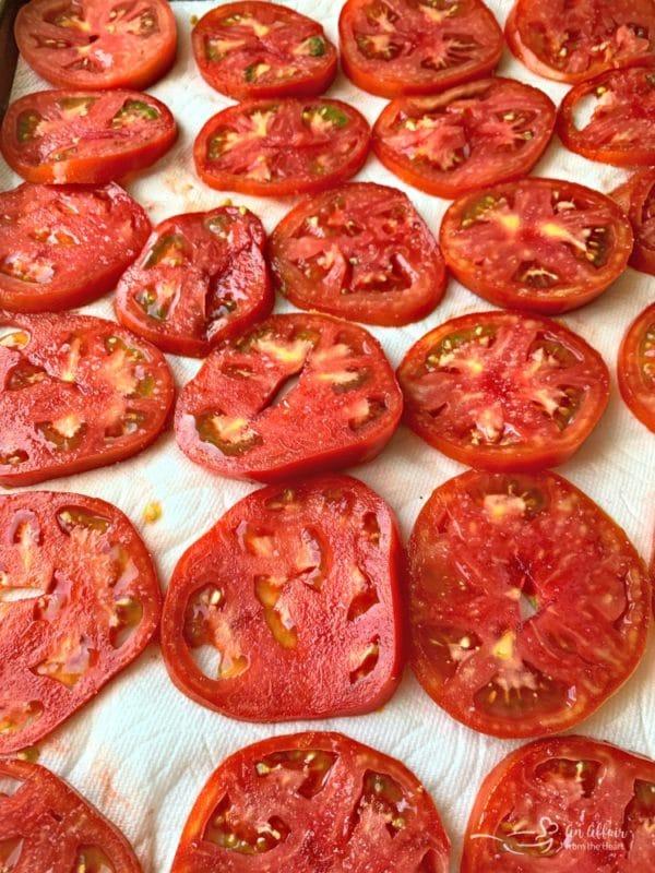 Tomato Pie prep tomatoes